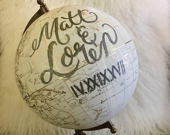 Custom Wedding Guestbook Calligraphy Globe / Choose Wording / White and Gold Calligraphy Globe / Custom Calligraphy Guestbook Globe