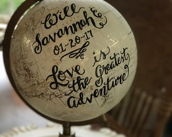 Custom Calligraphy Wedding Guestbook Globe / Choose Wording / White and Gold Globe or Whitewashed Options / Wedding Guestbook/Nursery Globe