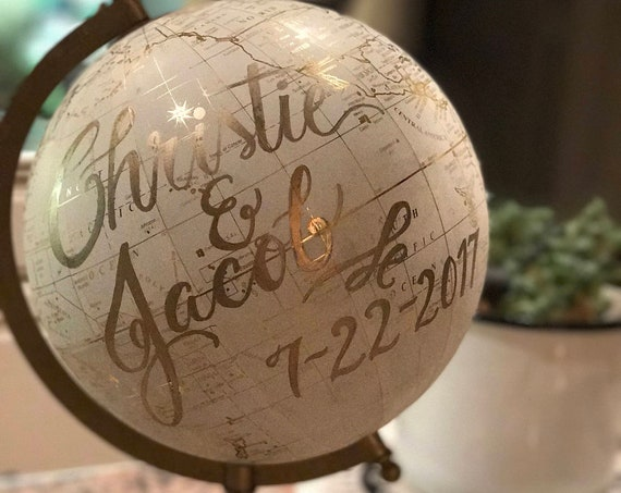 Custom Wedding Guestbook Globe / Choice of Wording / White and Gold Calligraphy Globe / Custom Options / Wedding Guest Book/Nursery Globes