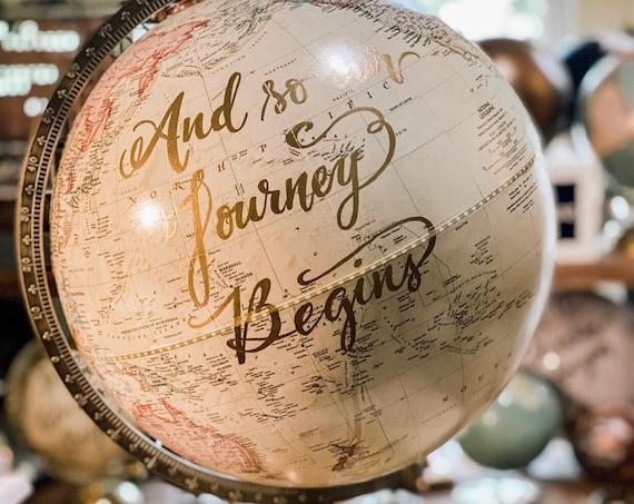LARGE Guest Book Globe - 12 Inch Antique White/Cream Grosvenor World Wedding Globe Custom Calligraphy / Wedding Guest Globe, Guestbook Globe