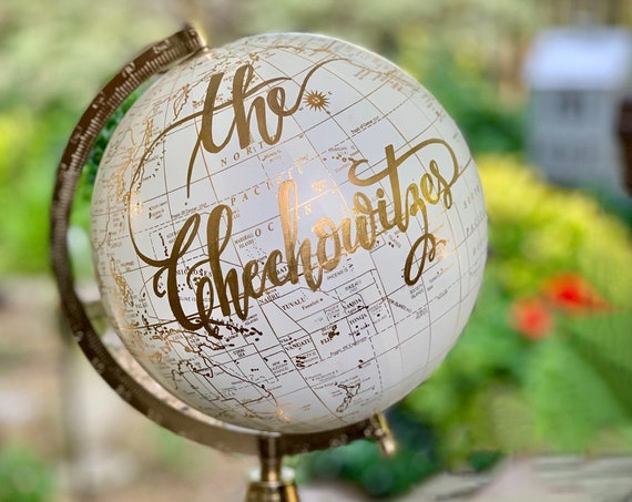 Custom Wedding Guestbook Globe / Calligraphy Globe / Choose Wording / White and Gold Globe or Whitewashed  / Wedding Guestbook/Nursery