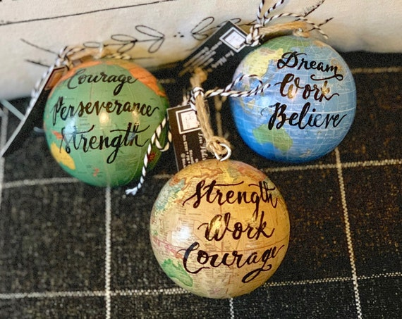 World globe Christmas Ornament - Customized w/names/saying - Perfect for Christmas gift giving or for your travel-themed Christmas tree