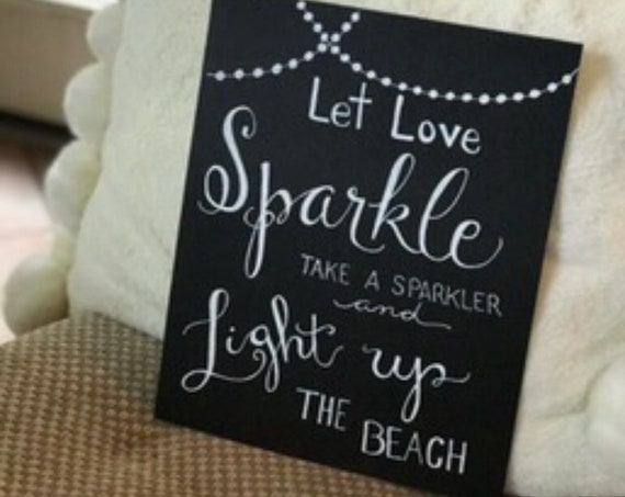 Let Love Sparkle / Sparkler Send Off Art Print / Customizable to location - choice of color cardstock paper/ink - Frameable
