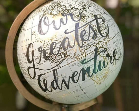 Custom Calligraphy Globe / Wedding Guestbook Globe / White and Gold Calligraphy Globe/ Custom Wording - Guestbook Globe/ Nursery Globe