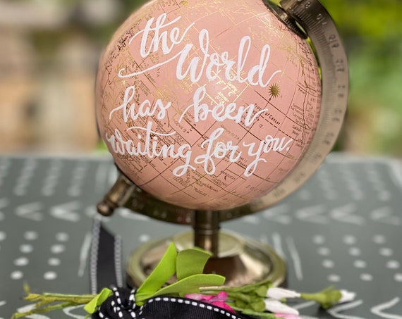 Mini Blush Pink Globe OR Mini White and Gold Globe  - Perfect for Baby Girl Nursery, Baby Shower or Girl's Travel Theme - Customize