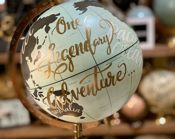 Turquoise Gray and White Globe w/ Custom Calligraphy - Makes a Perfect Gift for a Boy's or Girl's Room or Nursery or Baby Shower Gift/Decor