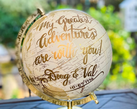 Custom White and Gold Calligraphy Globe w/shaded continents / Your Choice of Wording  / Wedding Guestbook Globe / Nursery / Guestbook Globe