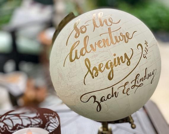 Custom Wedding Guestbook Calligraphy Globe / Choose Wording / Globe Finish in White and Gold Globe or Whitewashed  / Wedding Guestbook globe