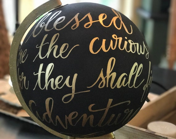 Custom Wedding Guestbook Calligraphy Globe / Black Chalkpainted Globe / Choose Custom Wording / Wedding Guest Book Globe / Nursery Globe