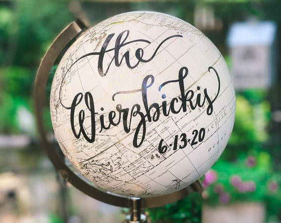 Custom Wedding Guestbook Globe / White and Gold Globe / WhiteWashed Available / Custom Globe / Wedding Guest Book/Nursery Globes