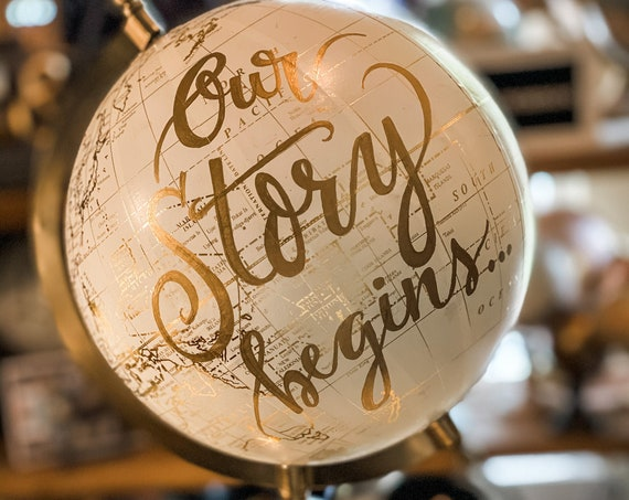 Our Story begins... Wedding Guestbook White and Gold Globe  / Date Can be Added  - listing is for THIS globe