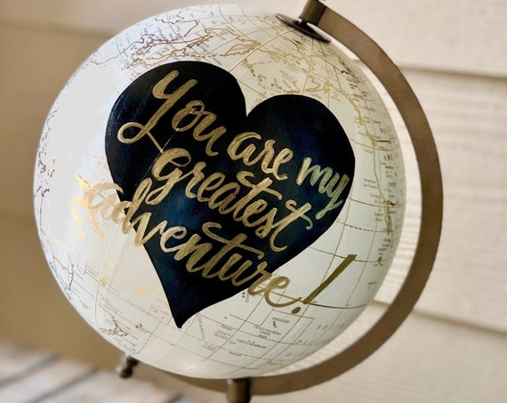 Custom Calligraphy Wedding Guestbook Globe / Choose Wording / White and Gold Globe w/Black heart in background / Wedding Guestbook / Nursery
