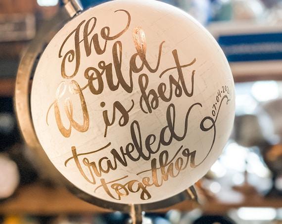 Custom Calligraphy Wedding Guestbook Globe / Choose Wording / White and Gold Globe /Whitewashed Options / Wedding Guestbook Nursery Globe