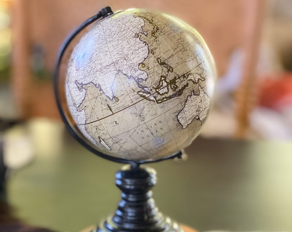 Mini Gray and White Globe w/black wood stand  - Perfect for Baby Boy Nursery, Baby Shower or Office - Travel Theme - Customize