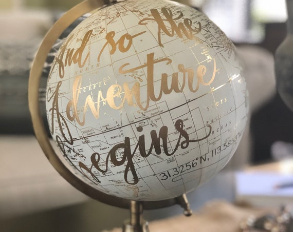Custom Calligraphy Wedding Guestbook Globe w/GEOGRAPHIC COORDINATES to memorialize your wedding destination/location / Guestbook Globe