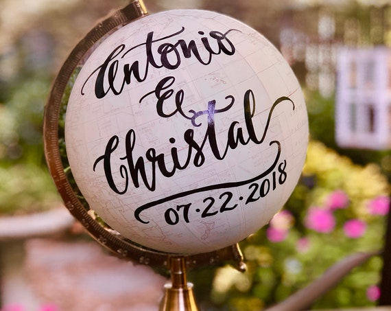 Custom Calligraphy Wedding Guestbook Globe / Your Wording / White and Gold Globe / Washed Available  / Wedding Guest Book/Nursery Globes