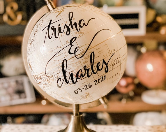 Custom Wedding Guestbook Globe / Your  Wording / White and Gold Globe / Washed Available / Custom Globe / Wedding Guest Book/Nursery Globes