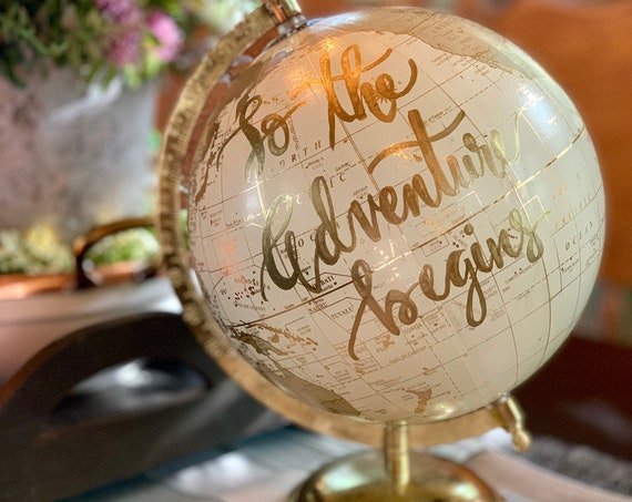 Custom White and Gold Wedding Guestbook Calligraphy Globe W/SHADED CONTINENTS / Choose Wording / Ink Color Options /Wedding Guestbook Globe
