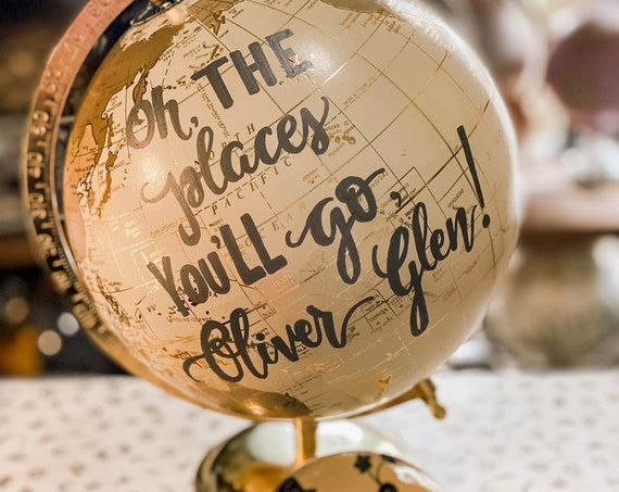 Oh The Places You'll Go -  Custom Wedding Guestbook Globe/White and Gold Calligraphy Wedding Guestbook Globe w/SHADED CONTINENTS / Guestbook