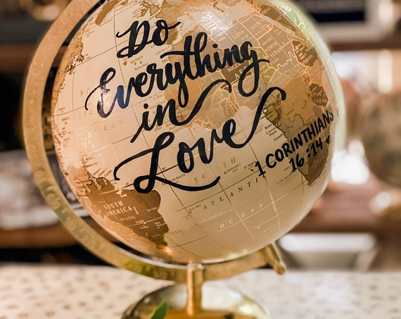 Custom Wedding Guestbook Globe / White and Gold Calligraphy Wedding Guestbook Globe w/SHADED CONTINENTS / Guestbook