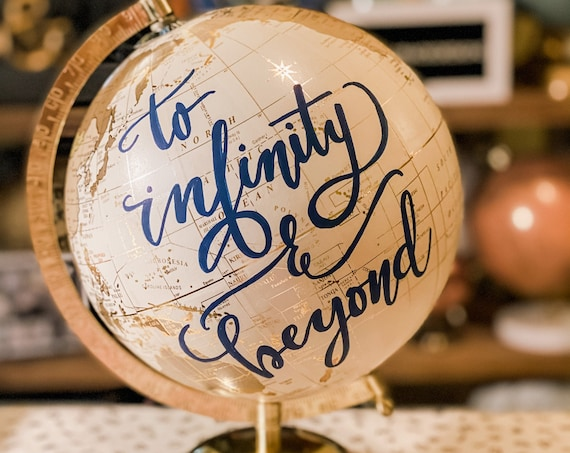 Our Adventure Begins - Custom Wedding Guestbook Globe / White and Gold Calligraphy Wedding Guestbook Globe w/SHADED CONTINENTS / Guestbook