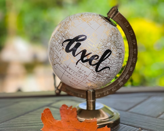 Mini White and Gold Globe OR Mini Blush Pink And Gold Globe - Perfect for Baby Girl Nursery, Baby Shower or Girl's Travel Theme - Customize