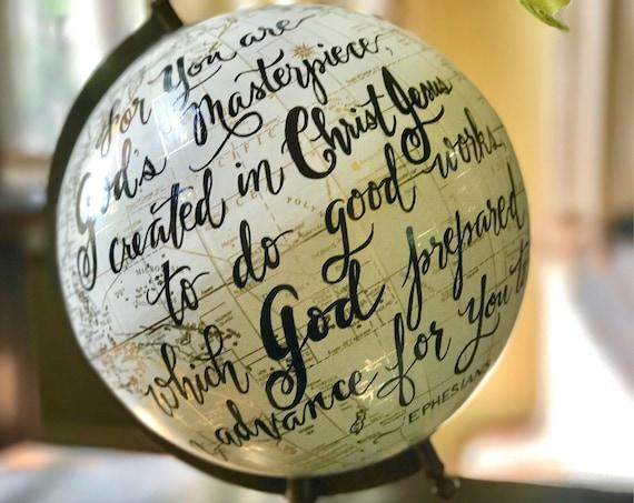 Scripture Globe / Custom Calligraphy Guestbook Globe / Full scripture quote or other long quote or wording choice - White and Gold globe