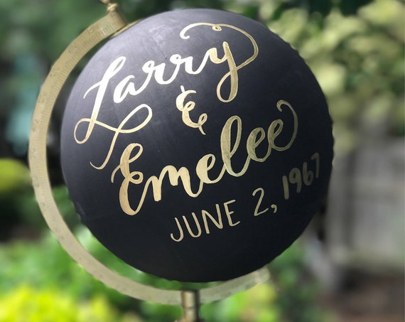 Wedding Guestbook Calligraphy Globe / Black Chalkpainted Globe / Gold Calligraphy Globe / Choose Wording / Wedding Guest Book Globe /Nursery