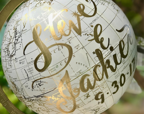 Custom Calligraphy Wedding Guestbook Globe / Choose Wording / White & Gold Calligraphy or Black Globe  / Wedding or Nursery Globe