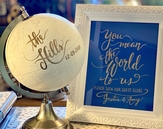 Custom Wedding Guestbook Globe  / Globe Finish in White and Gold Globe or Whitewashed / Wedding Guestbook/Nursery /Art Print Sold Separately