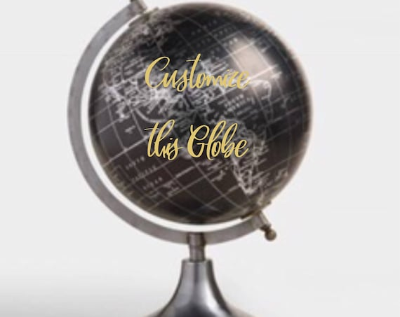 Custom Calligraphy Wedding Guestbook Black Globe / silver base / silver countries - Choose Wording - Custom  / Wedding Guestbook Globe
