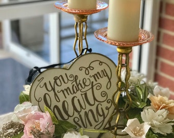 CUSTOM CALLIGRAPHY Linen /& Metal Framed  Chalkboard Heart You Make My Heart Sing WeddingBaby ShowerNurseryCustom Wording Available