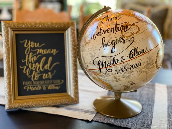 12 Inch Beige/Cream Replogle Franklin World Wedding Guestbook Globe w/Gold Stand / Custom Calligraphy / Wedding Guest Globe, Accurate Globe