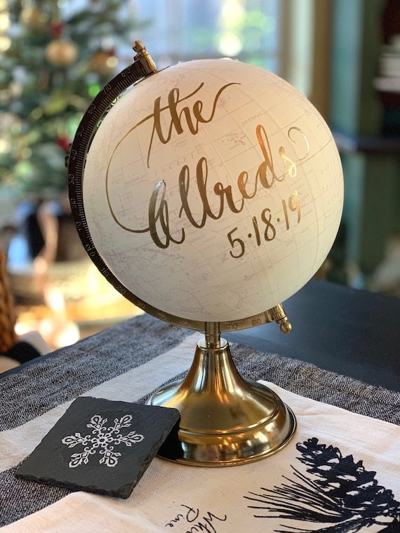Custom Wedding Guestbook Calligraphy Globe / Choose Wording / White and Gold Globe or Whitewashed Options / Wedding Guestbook/Nursery Globe