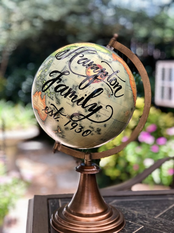Custom Calligraphy Guestbook Globe / Your Choice of Wording / Antique Colored World Globe / Custom Calligraphy  / Wedding Guestbook Globe