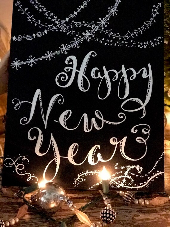 "Winter  ""Happy New Year"" Custom Calligraphy Chalkboard Paper Art Print - Gift / Frameable"