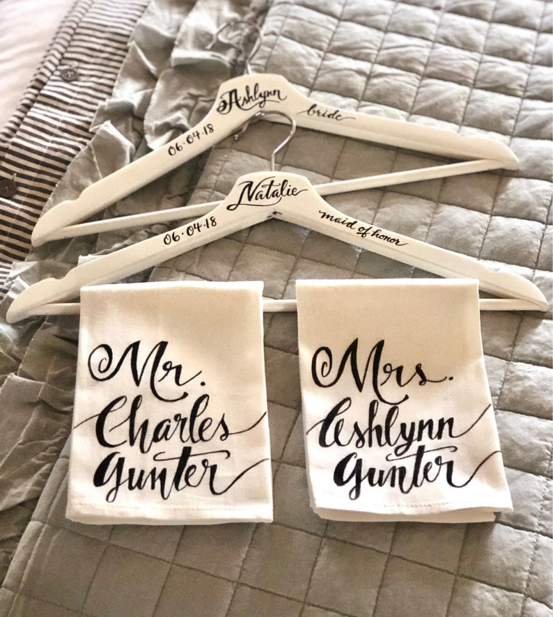 Bride Wedding Hanger CUSTOM CALLIGRAPHY Wooden Wedding Hangers Calligraphy Wedding Gifts Bridesmaids Gifts Personalized