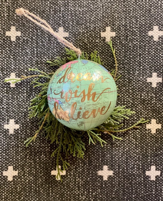 World globe Christmas Ornaments - Customized w/names/saying - Perfect for Christmas gift giving or for your travel-themed Christmas tree