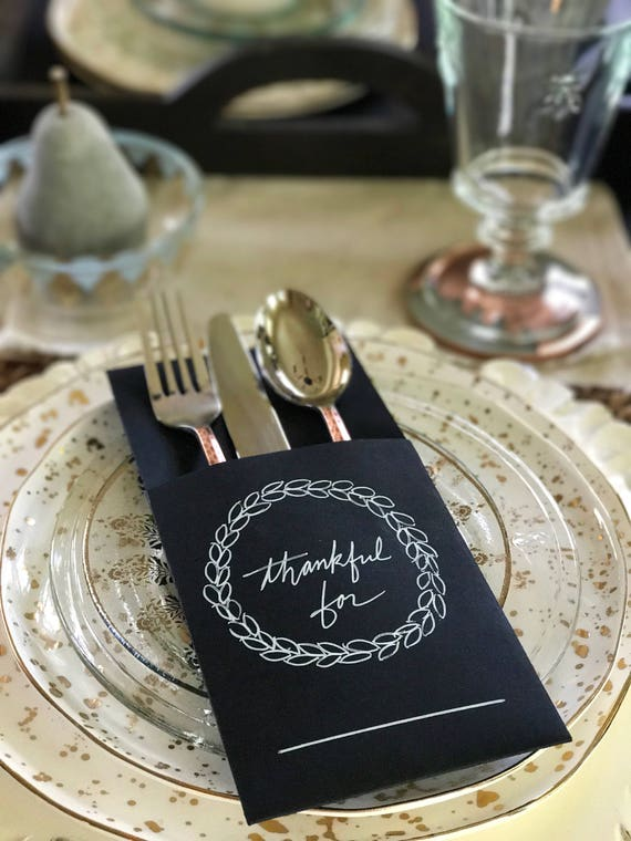 Place Setting Holder Sleeves for Holiday & Thanksgiving Table - SET OF 6 Place Setting Sleeves/Holders - Kraft Paper or Chalkboard Styles