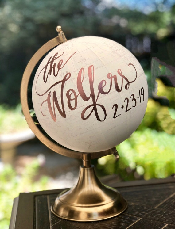 Custom Last Name Wedding Guestbook Globe / Calligraphy Guestbook Globe /  Choose Wording / White and Gold Globe or Whitewashed / Guest Globe