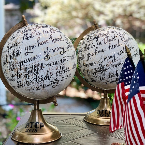 Scripture Globe / Custom Wedding Guestbook Globe w/Calligraphy / Full scripture quote or long quote or wording - White and Gold globe