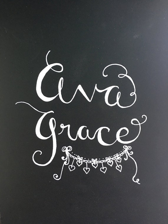 Custom Calligraphy Chalkboard Paper Art Print - Names / Custom Sayings / Gifts for Housewarmings, Birthdays, Weddings, New Baby
