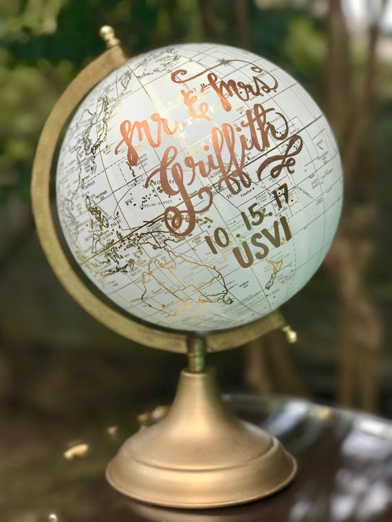 Custom Calligraphy Wedding Guestbook Globe / Choose Wording / White and Gold Calligraphy Globe / Custom Guestbook Globe / Nursery Globe