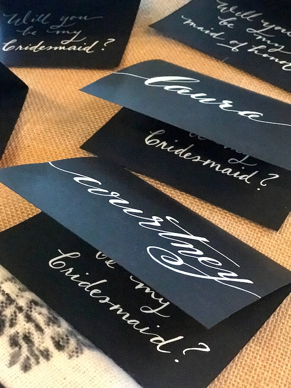 CUSTOM CALLIGRAPHY Note Cards / Personalized/Message Choices/Great for Bridal Party Invites/Special Messages