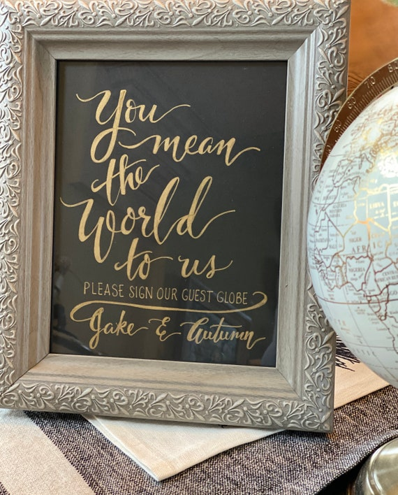 You Mean the World to Us ~ Please Sign Our Globe w/names Chalkboard Art Print/Chalkboard or Art Paper/Chalk Pen or Black Ink -w/or w/o Frame