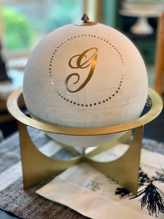 Large Whitewashed Gold & White 12 Inch Globe w/Gold Metal Stand  / Choose Custom Calligraphy Wording / Calligraphy Globe / Wedding Globe