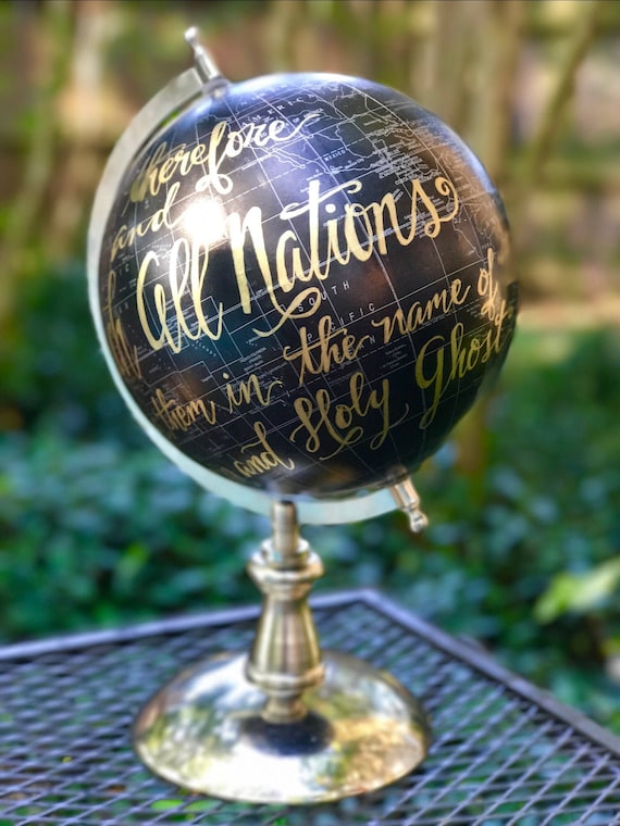 Custom Calligraphy Black Globe / silver base / silver countries - Your Choice of Wording - Custom Options / Wedding Guest Book