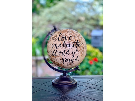 Custom Calligraphy Globe / Vintage Beige Calligraphy Globe w/ink choice  / Custom Wording/Ink Color - Wedding Guest Book Globe/ Nursery