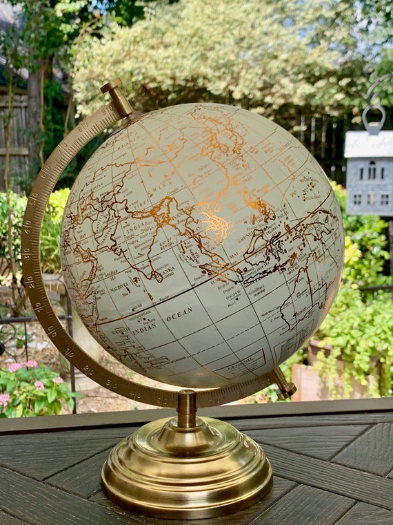 Custom Wedding Guestbook Globe / Choice of Wording / White and COPPER Countries  Globe / Custom Options / Wedding Guest Book/Nursery Globes