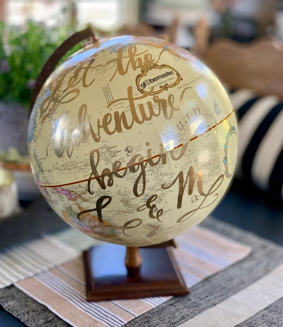 Large Beige/Cream with Colored Continents 12 Inch Wedding Guestbook Globe w/Gold and Wooden Stand / Custom Calligraphy / Wedding Guest Globe